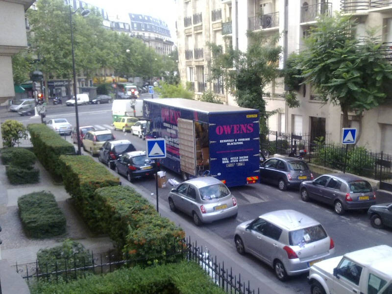 A removal to the continent? The Owens van parked outside an apartment in Paris, France.